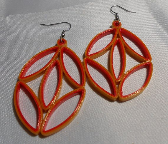 Large Orange and Gold Handmade Paper Earrings by RheasOriginals