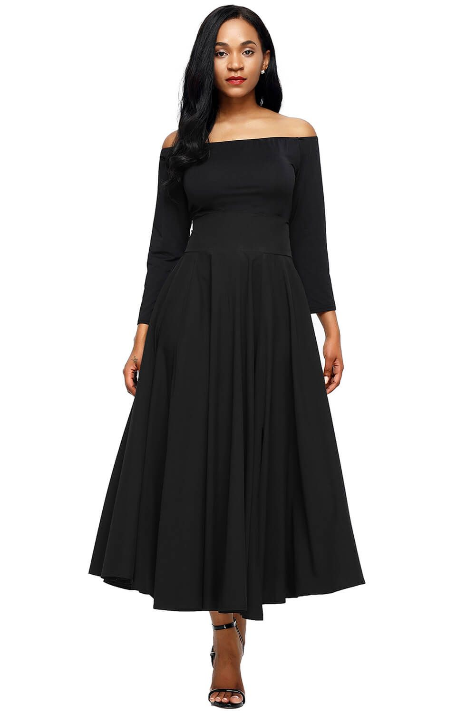 Black Belted Retro High Waist Pleated Skirt Maxi