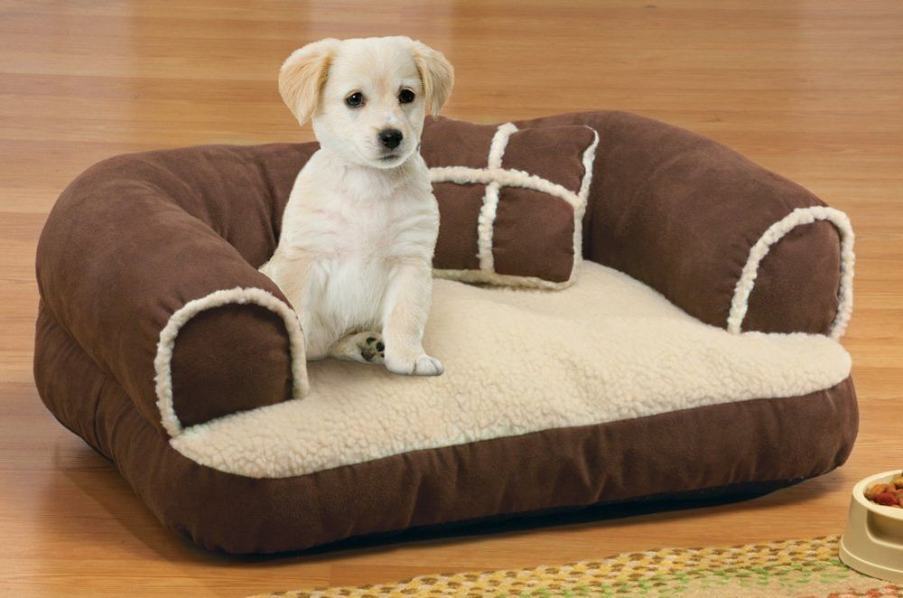 Cozy Brown Suede Sherpa Style Pet Small Dog Cat Bed Couch
