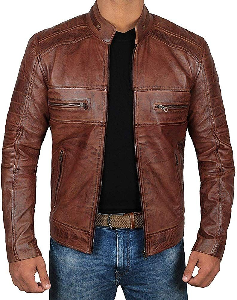 Decrum Mens Motorcycle Jacket Cafe Racer Jacket 1100065 Austin Brown Xl At Amazon Men S Clothing Store Mannenoutfit Mannen In Leer Lederen Jas [ 1000 x 792 Pixel ]