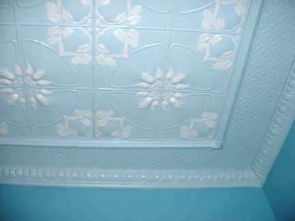 Hand-painted pressed metal ceiling - Jasmine design. Find out more about designing a pressed metal ceiling here: http://www.heritageceilings.com.au/tin-ceilings-design.php
