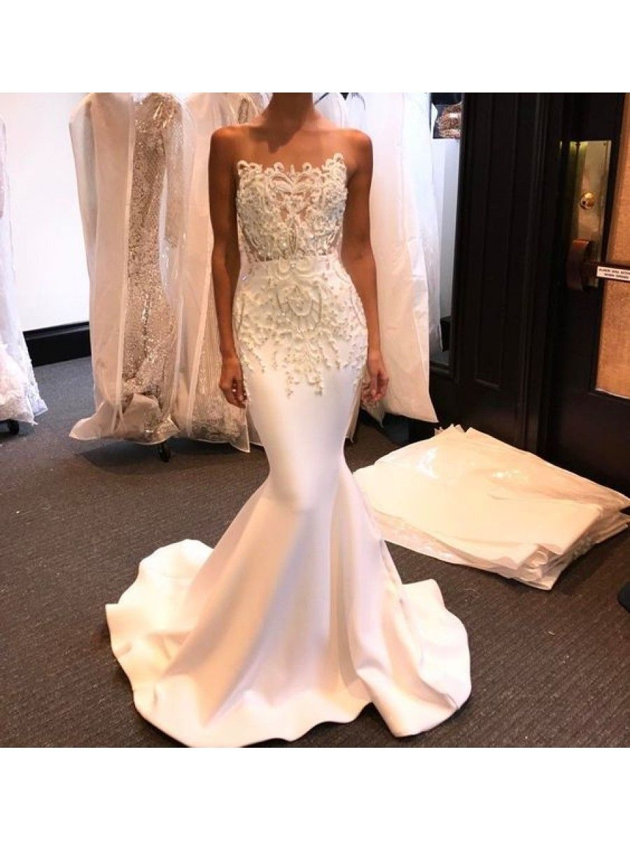 Mermaid lace long white prom formal evening party dresses
