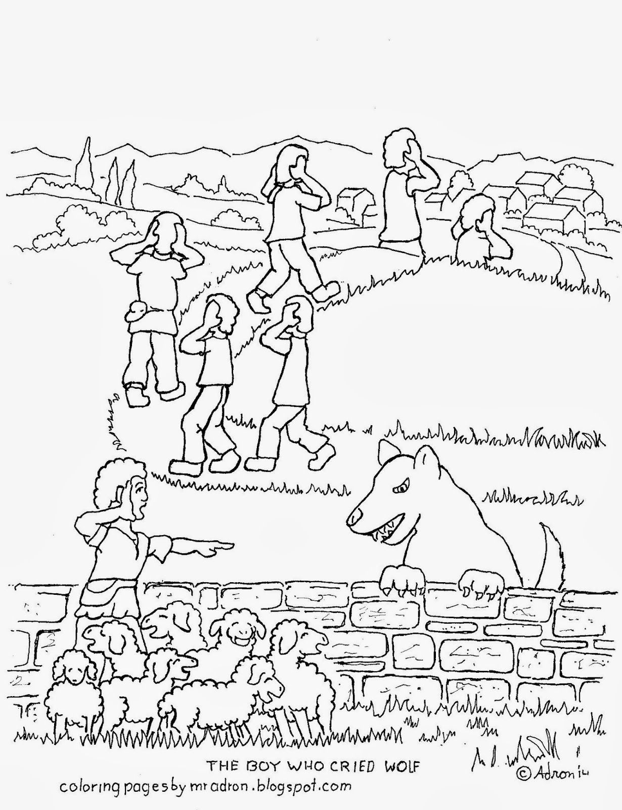 Coloring Picture Of The Boy Who Cried Wolf See More At My Blogger Http Coloringpagesbymradron Blogspot C Coloring Pages Wolf Colors Coloring Pages For Boys