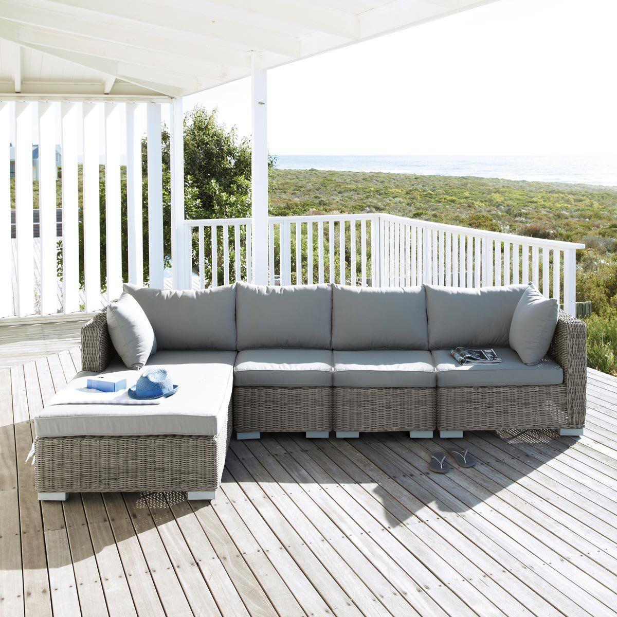 Pouf de jardin en résine tressée grise | Gartensofa, Outdoor ...