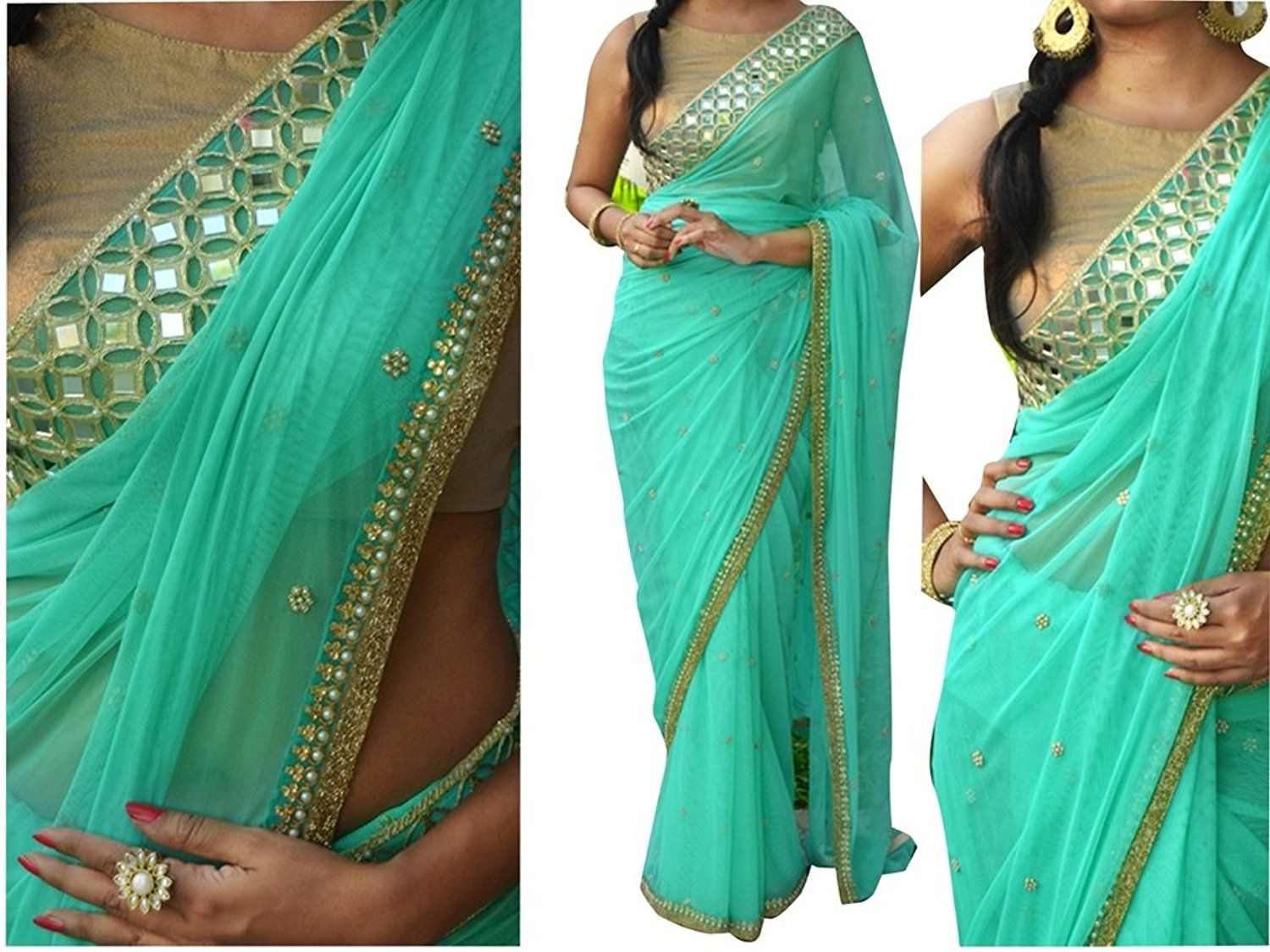 Vinayak Textile Women\'s Pure Nylone Georgette Bollywood Party Wear ...