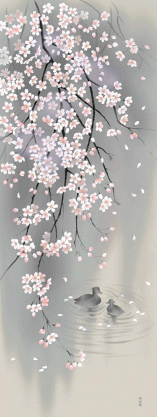 Japonés Tenugui algodón tela flores de cerezo pájaro flor   Art ...