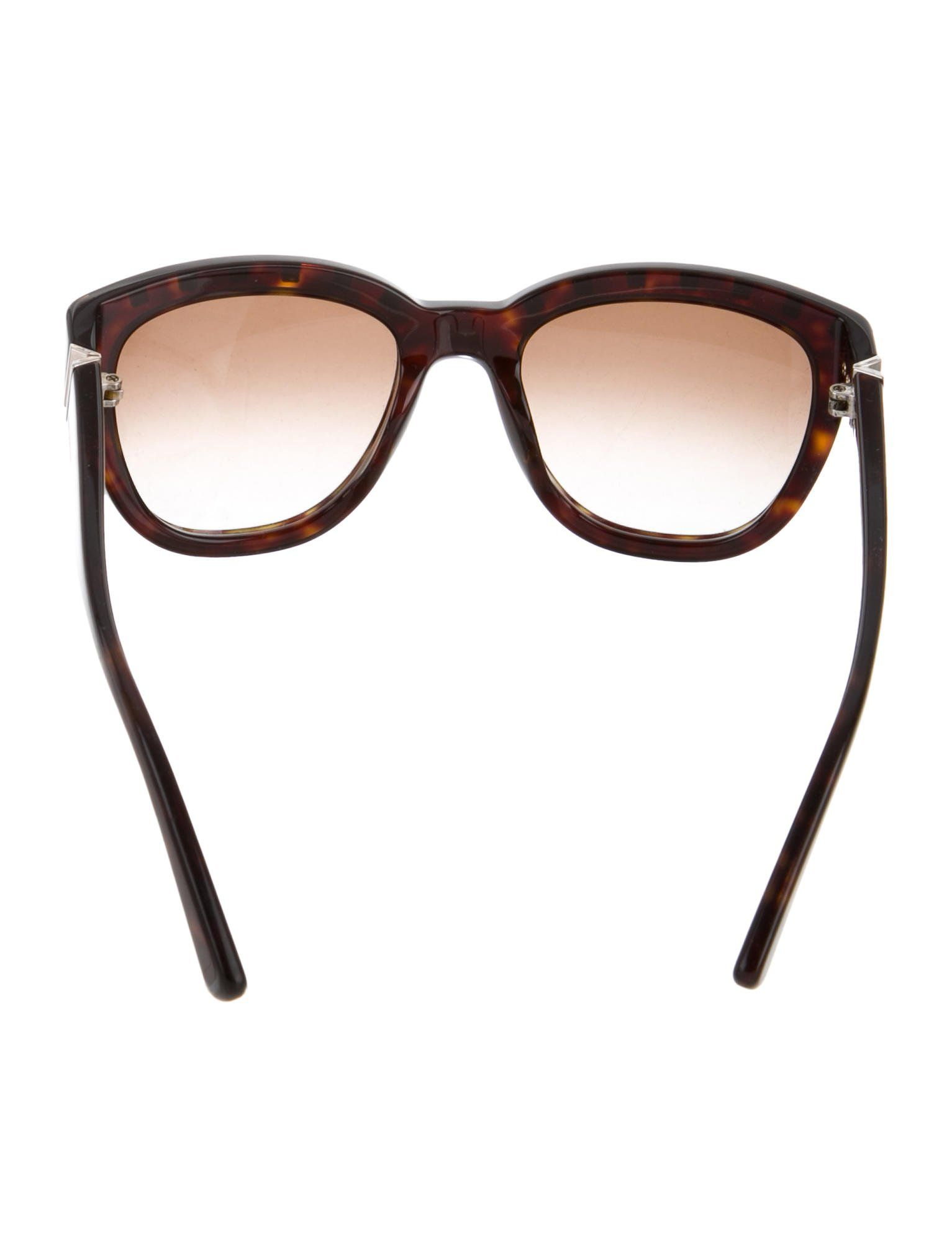 468a893bdf340 Brown Valentino Rockstud round sunglasses with tinted lenses and silver-tone  pyramid studs at top. Includes case.
