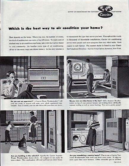 Vintage Carrier Ad 1957 Carrier Air Conditioner Vintage Ads Heating And Air Conditioning