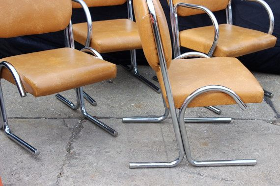 Midcentury Tubular Chrome Steel Dining Chairs By Douglas Furniture
