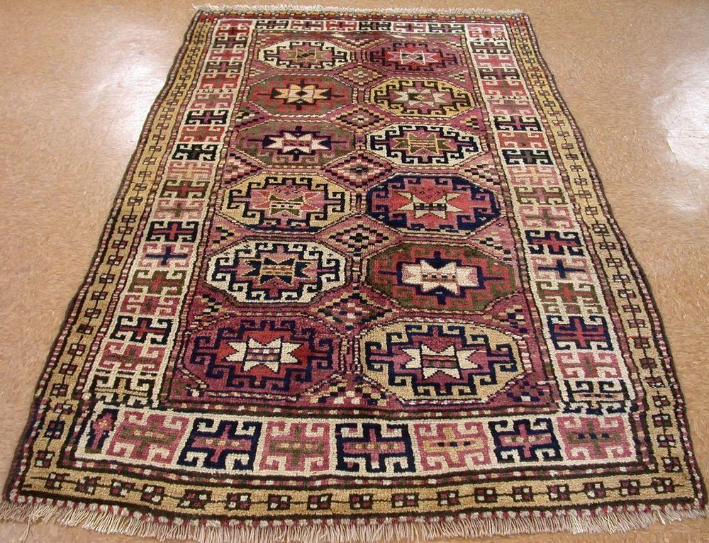 5 X 8 Antique Persian KURDISH Tribal Hand Knotted Wool RUST IVORY Oriental  Rug