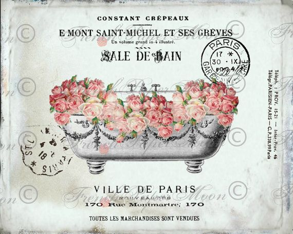Vintage Digital French Bathtub,Shabby Roses, Romantic Salle De Bain
