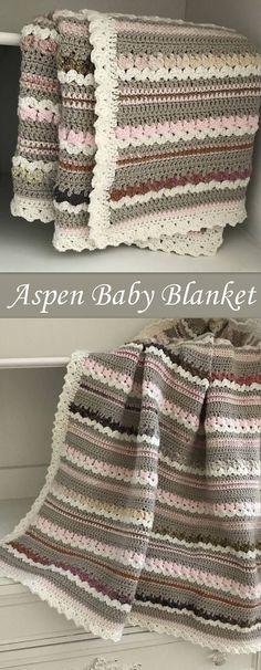 Crochet Baby Blanket Pattern - Aspen Blanket - Woodland Baby - Easy Pattern by Deborah O'Leary Patterns