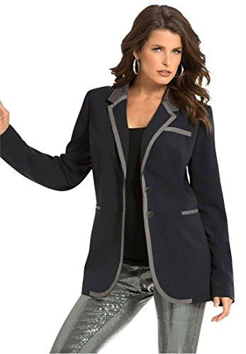 6d9520316f9 Bargain Catalog Outlet Roamans Denim 24 7 Plus Size Beaded Collar Blazer