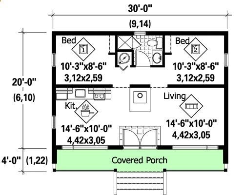 Vacation Cottage 600 Sq Ft This Could Be My Retirement House You Like Cottage Plan Tiny House Floor Plans House Plans
