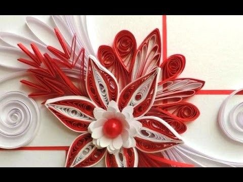 DIY Craft Ideas-How to make Beautiful Quilling Red.White Flower New design -Paper Art Quilling
