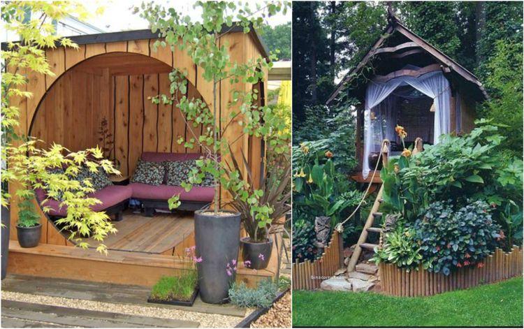 Ideen Fur Den Garten Sitzecke Holz Gartenlaube Hutte Kinder Holzhutte Garten Sitzecken Garten Garten