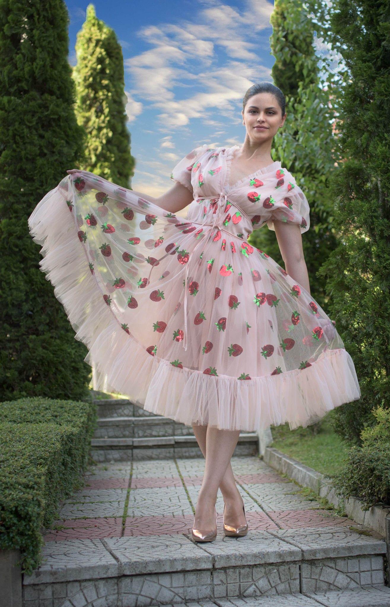 Sequins Strawberry Tulle Dress Svetlanadesignroom Strawberry Dress Pretty Dresses Summer Fashion Dresses [ 2048 x 1315 Pixel ]