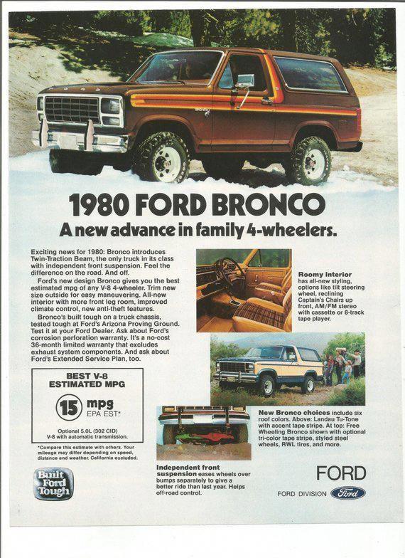 1980 Advertisement Ford Bronco SUV Family 4 Wheeler Truck