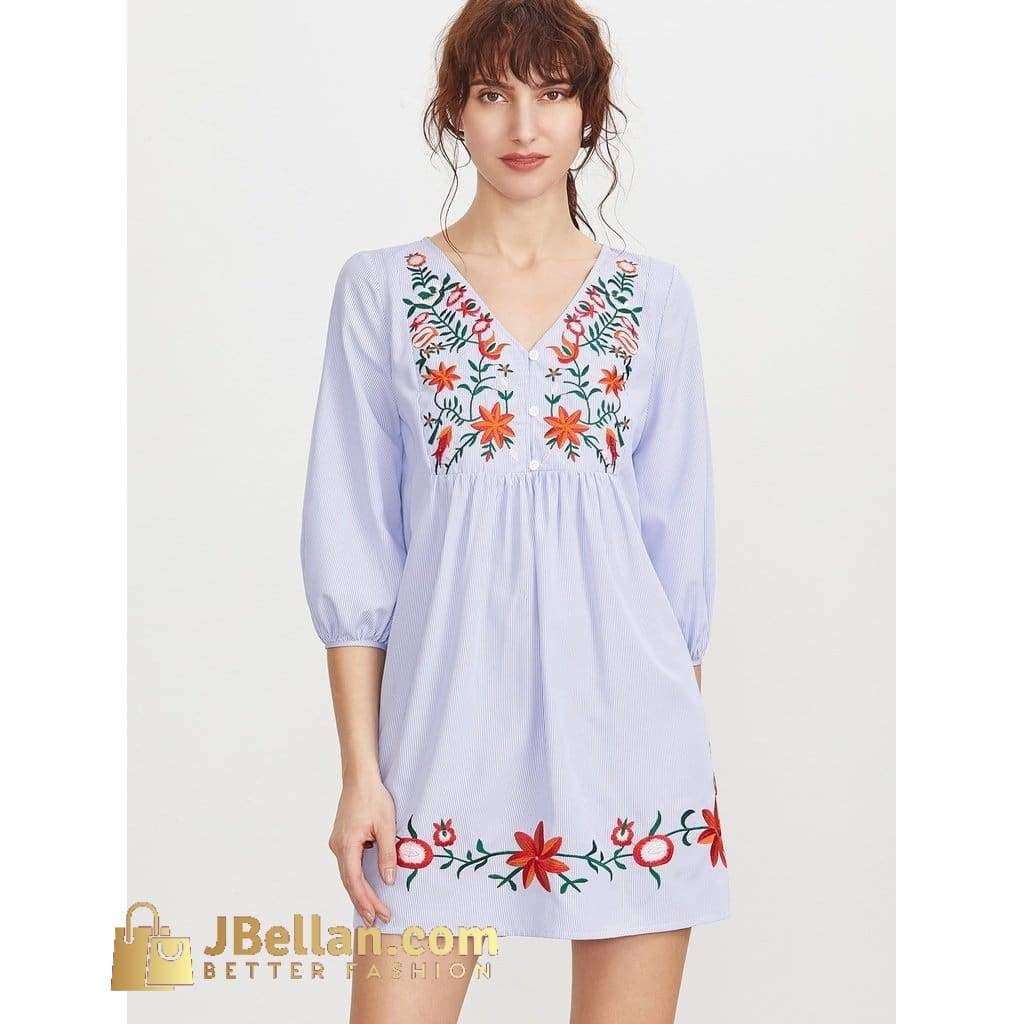 Striped button front lantern sleeve embroidered dress products