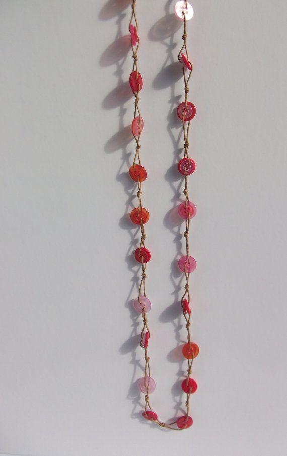 Button Necklace  red orange and pink  warm by HayleyMallett