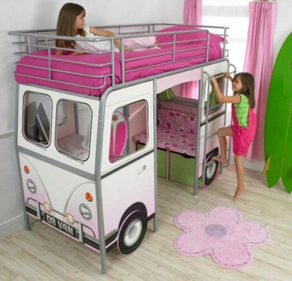 White Modern Bus Shaped Girls Bed Design For Little Girls With Pink Bed And  Staircase Part 62