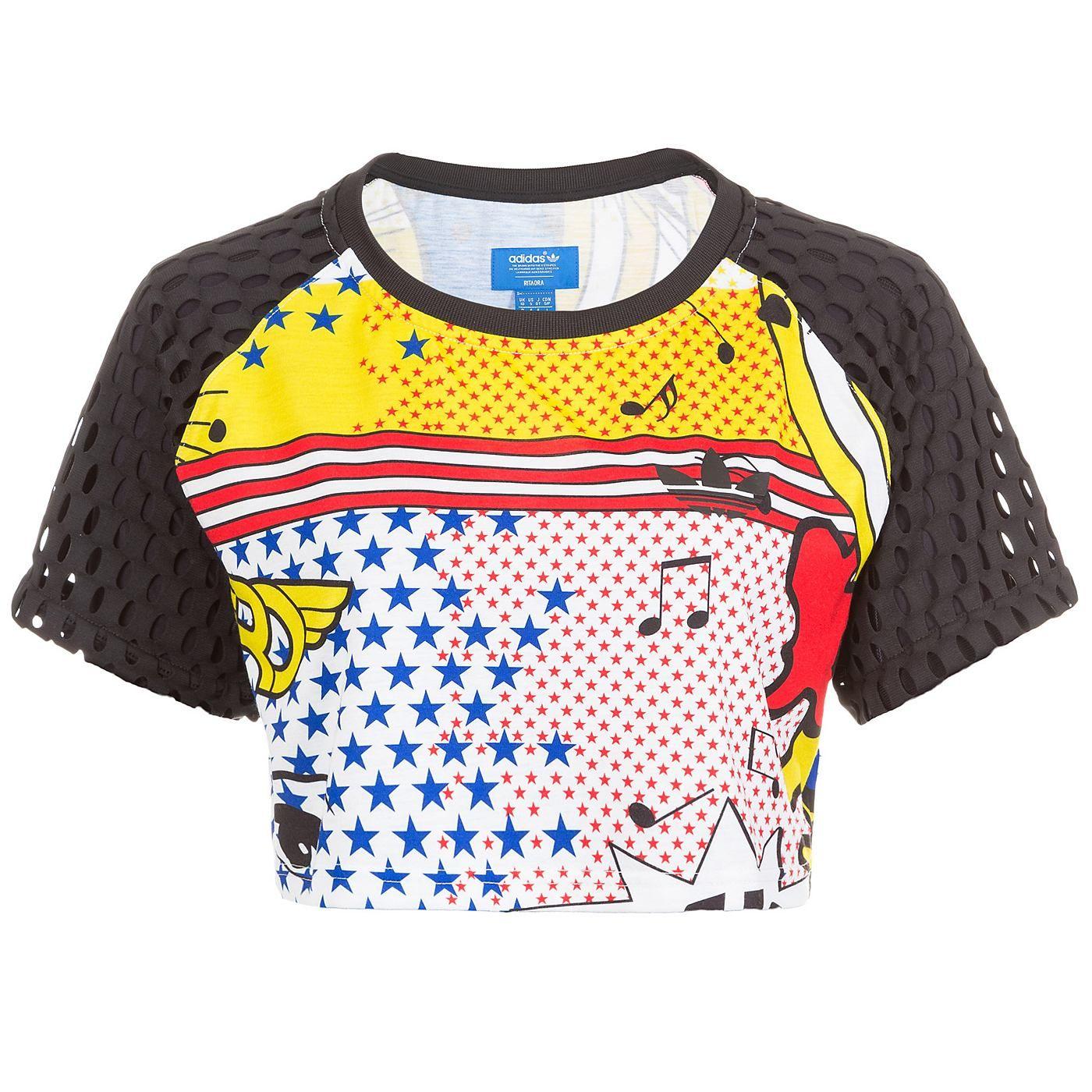 097651ff1e6865 Rita Ora Super Crop T-Shirt Damen Das Super Crop ist in Zusammenarbeit von adidas  Originals und Rita Ora entstanden. Passend zum aussagekräftigen Look der ...