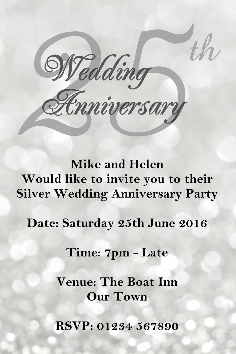 25th wedding anniversary invitations printable | wedding invitations ...