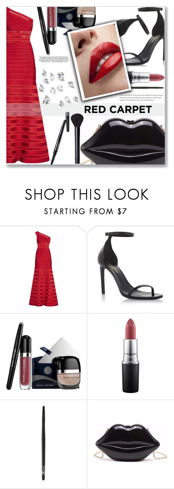 """""""Red Carpet"""" by loloksage ❤ liked on Polyvore featuring Hervé Léger, Yves Saint Laurent, Marc Jacobs, MAC Cosmetics, Avon and NARS Cosmetics"""