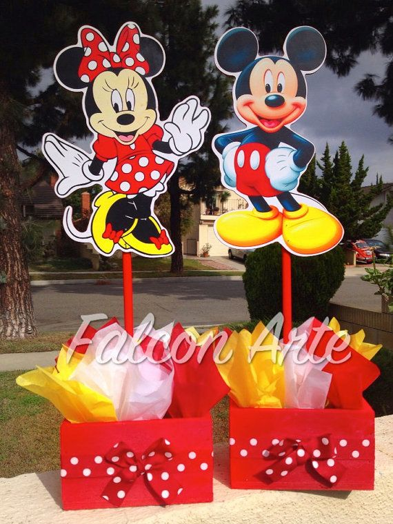 Mickey And Minnie Mouse Wood Table Centerpiece For Birthday Or Any Other  Themed Event