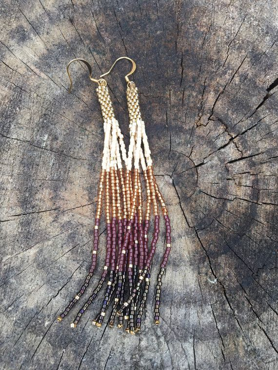 24K yellow gold accented earthy toned beaded tassel fringe earrings by TaurusHeart