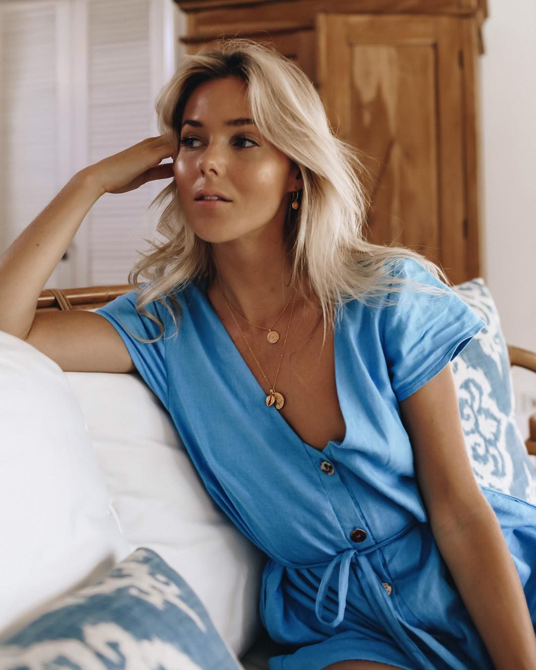 59bcdc1a4a8 Fredrika Akander in the MLM Label Monroe Romper in French Blue Linen French  Blue