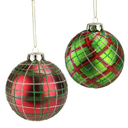 Christmas Tree Glass BAUBLE Decoration TARTAN Green Red Gold Glitter Festive