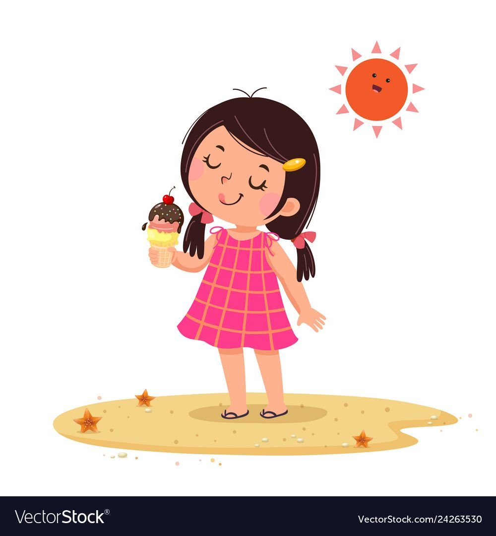 Cute Little Girl Feeling Happy With Her Ice Cream Vector Image Kids Vector Cartoon Goldfish Kids Poster