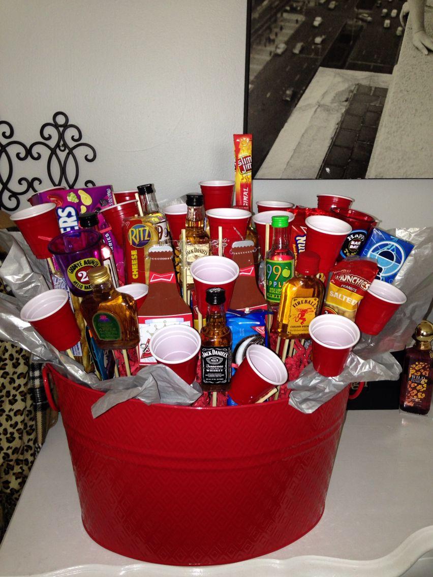 21st birthday basket for my boyfriend! 21st birthday