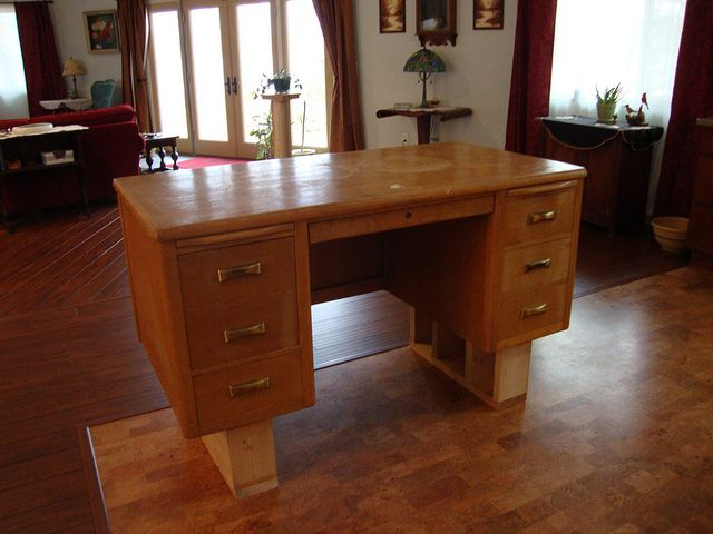 Step One Of Turning Old Teachers Desk Into Kitchen Island Diy