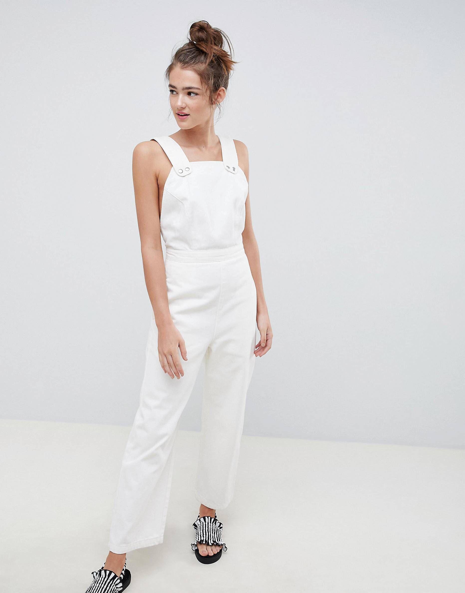 720bb37d016 DESIGN denim jumpsuit in white with popper detail in 2018