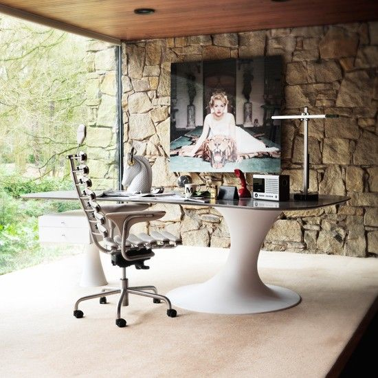 Home Study Interior Design Courses Uk: Modern Home Office With Stone Feature Wall
