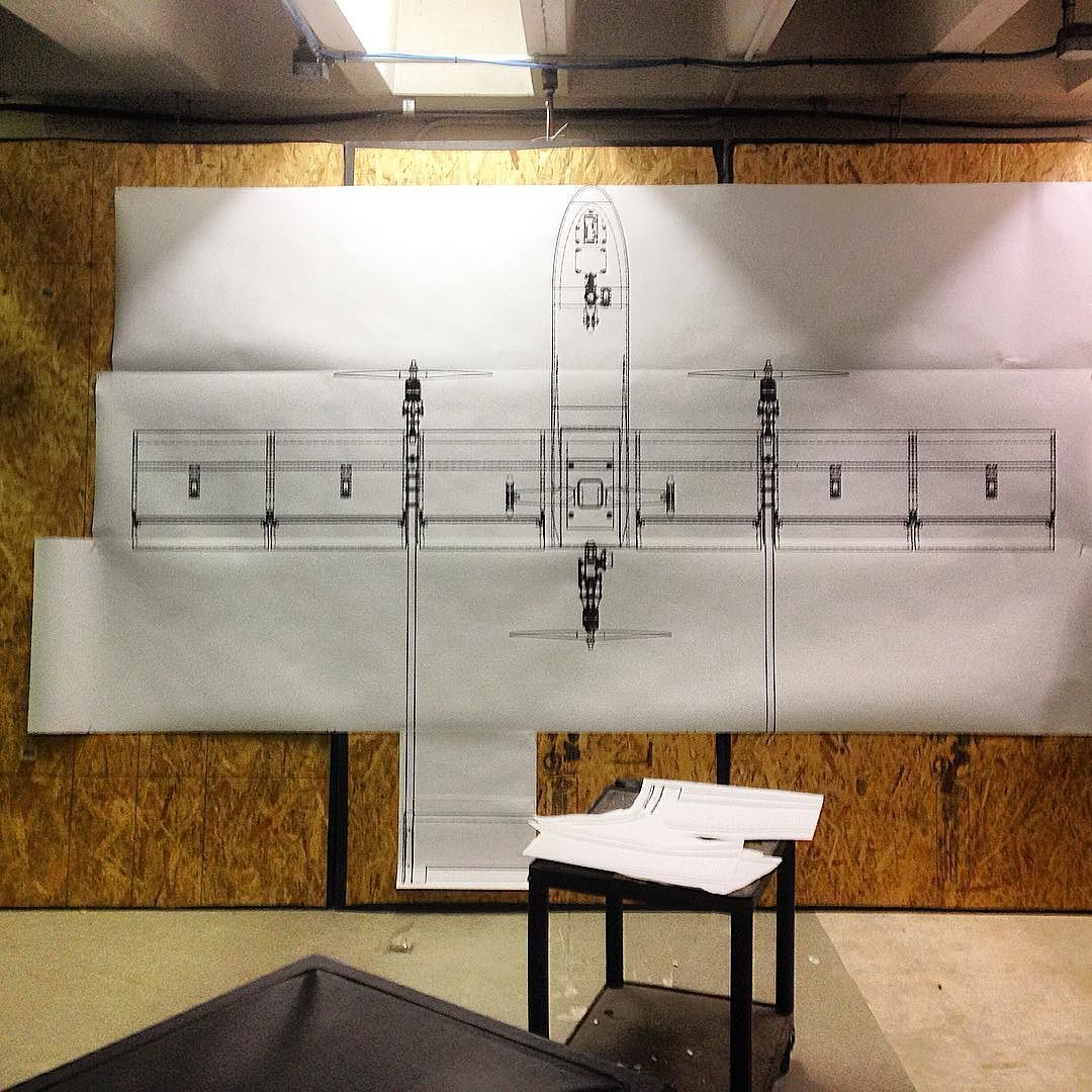 Full scale blueprint in my school's basement  Designed with
