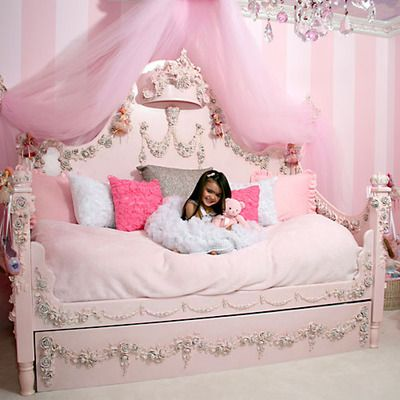 princess bed- you could actually buy an old bed, paint and stain it and add the decorative trim