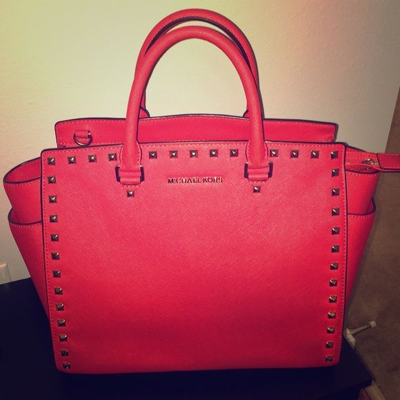 a39819c26426 MK Large Selma Studded Satchel Stunning red