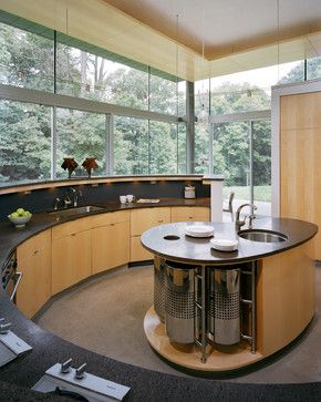 The Coolest Circular Kitchens A Round Qb Blog Curved Kitchen Island Curved Kitchen Kitchen Island Cabinets