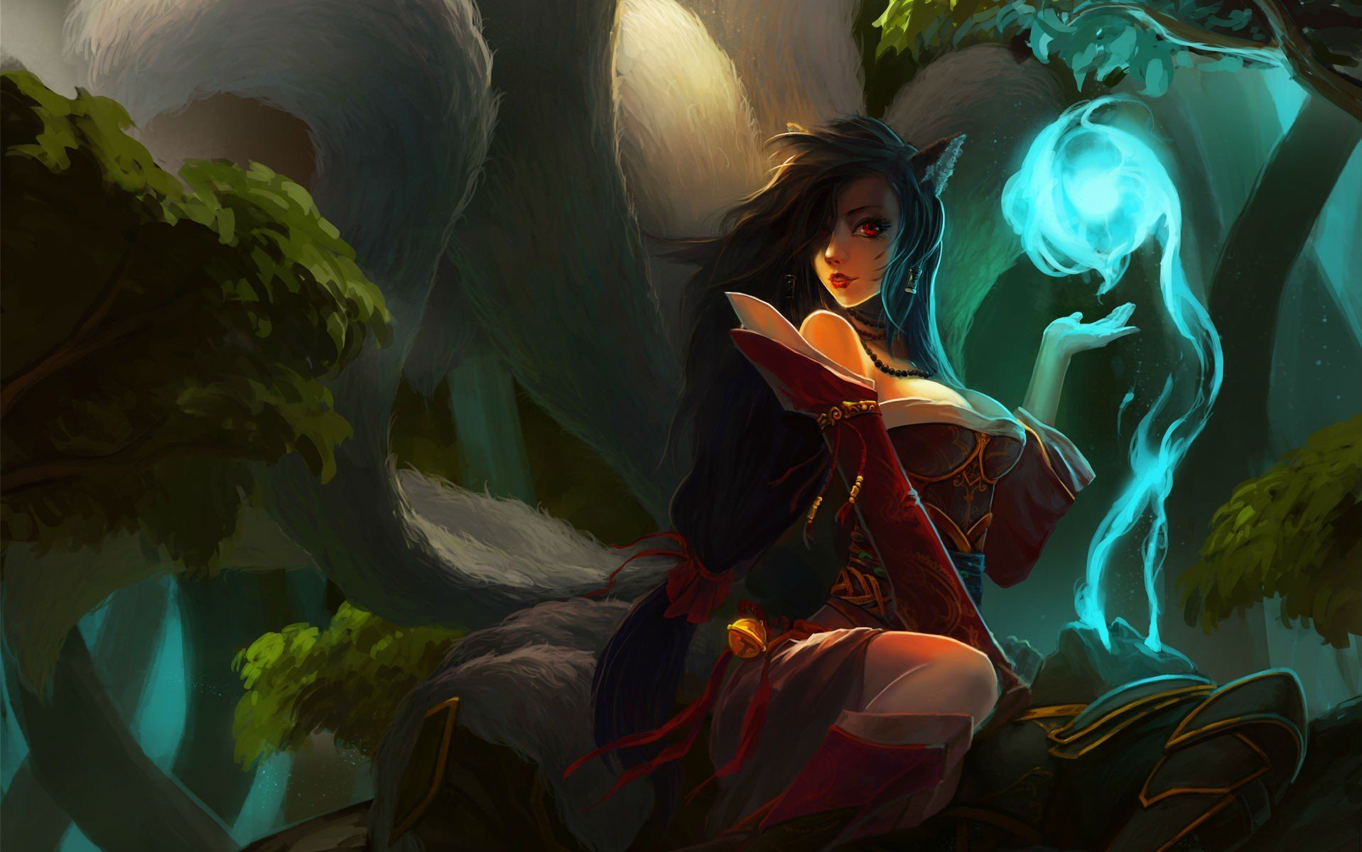 [3840x1080] Ahri - League of Legends Dual monitor or even 1920x1080 request. Need #iPhone #6S #Plus #Wallpaper/ #Background for #IPhone6SPlus? Follow iPhone 6S Plus 3Wallpapers/ #Backgrounds Must to Have http://ift.tt/1SfrOMr