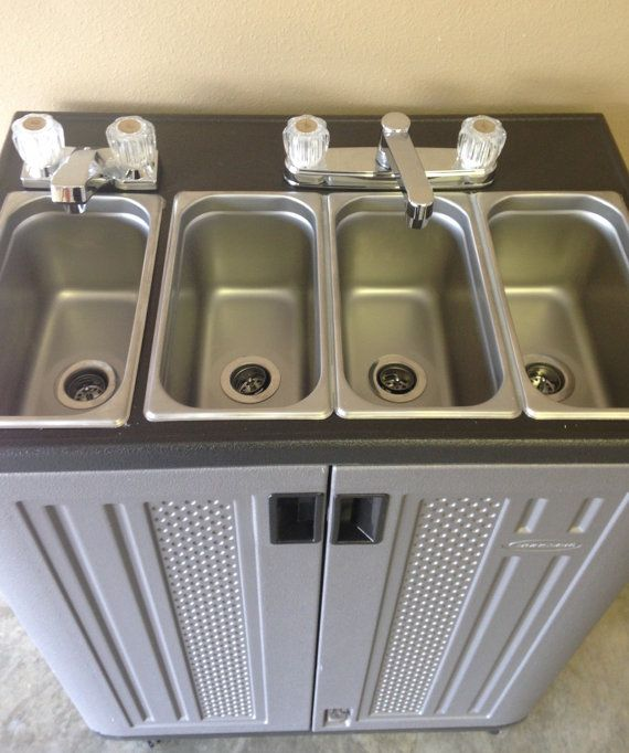 Electric Portable Concession Sink 3 Compartments Hand