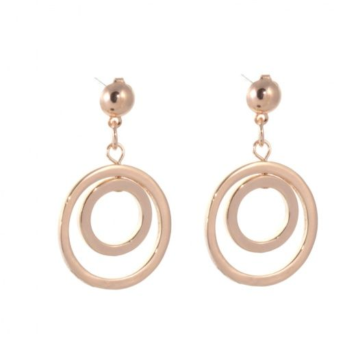 Statement Costume Jewellery Rose Gold Concentric Circle Design Drop Earrings Stud Fastening