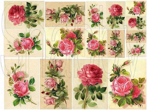 Carta Decoupage Shabby Chic.Shabby Chic Victorian Roses Digital Collage By Shabbybeautiful