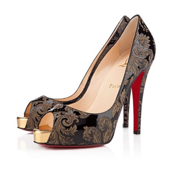 966a976e2683 Gold Christian Louboutin Very Prive Peep Toe Pumps Patent Leather