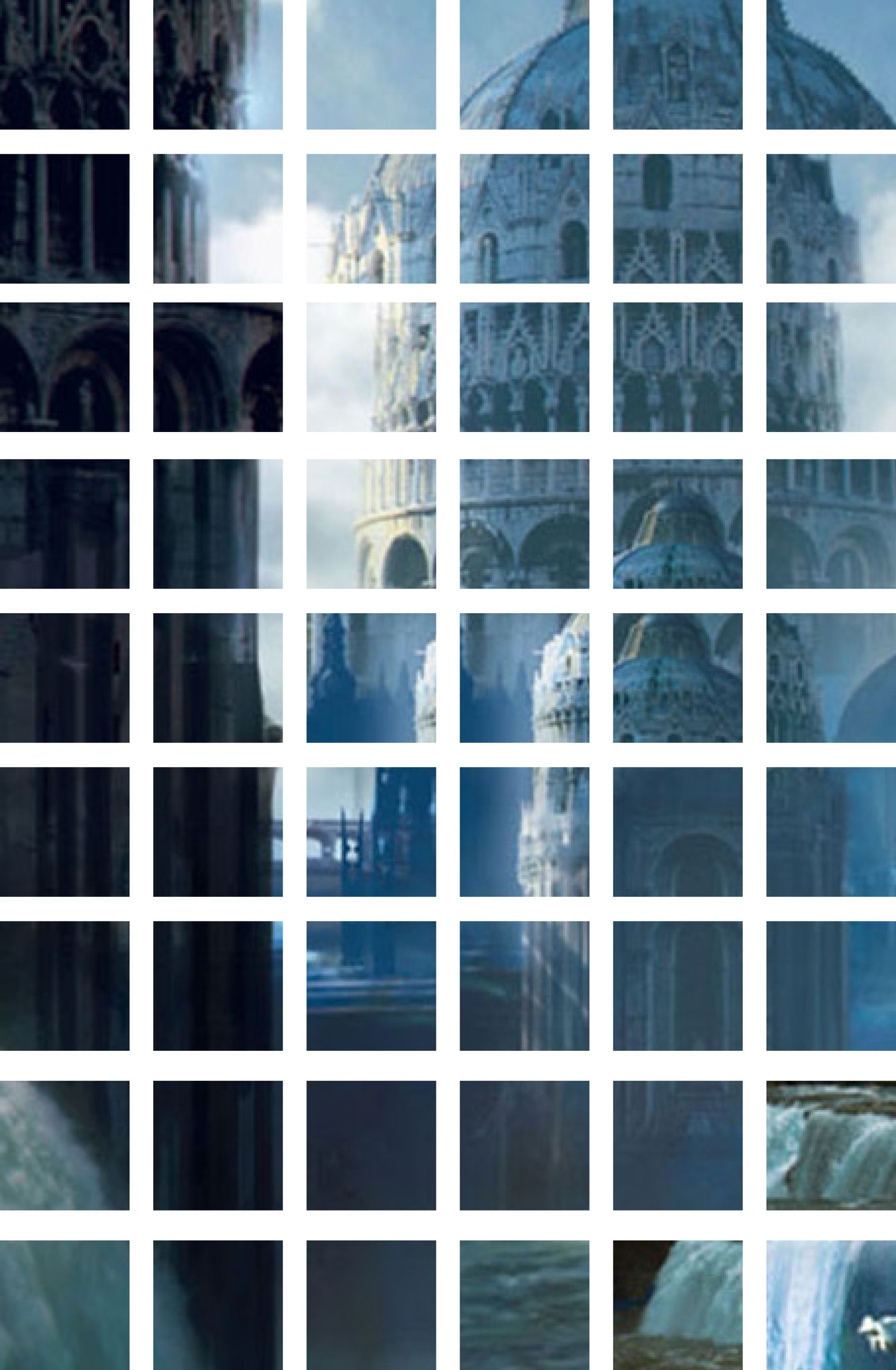 Un collage a riquadri di una città fantastica sulle cascate