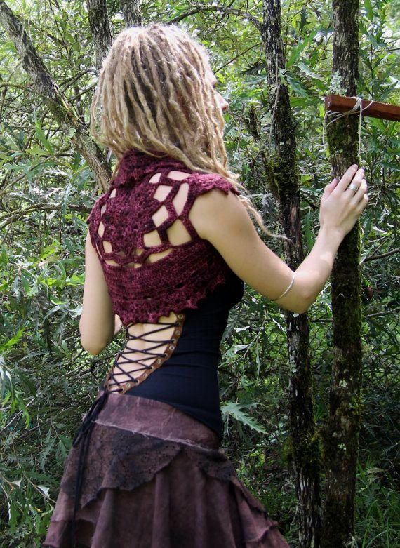 Lace Faery Crochet Mandala Shrug Vest in Mahogany | Weste, Häkeln ...