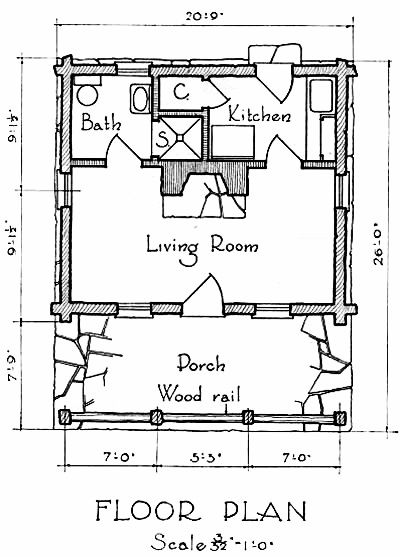 Vintage Log Cabin Floor Plan With Fireplace Large Porch Log Cabin Floor Plans Cabin Floor Plans Cottage Floor Plans
