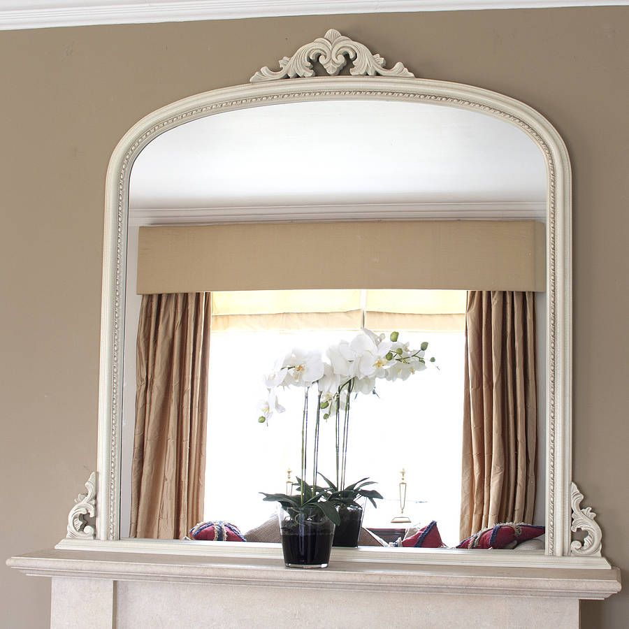 White beaded edge overmantel fireplace mirror mirrors online